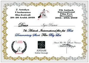 Antakya 7th International Film Festival Documentary Short Competition Winner